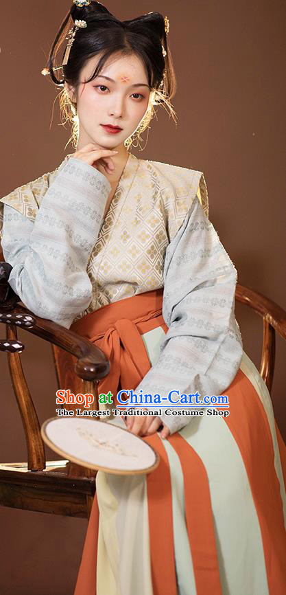 Traditional China Tang Dynasty Historical Clothing Ancient Palace Lady Hanfu Apparels Costumes Full Set