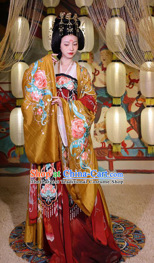 China Tang Dynasty Palace Beauty Yang Yuhuan Embroidered Dress Hanfu Clothing Ancient Imperial Consort Apparels