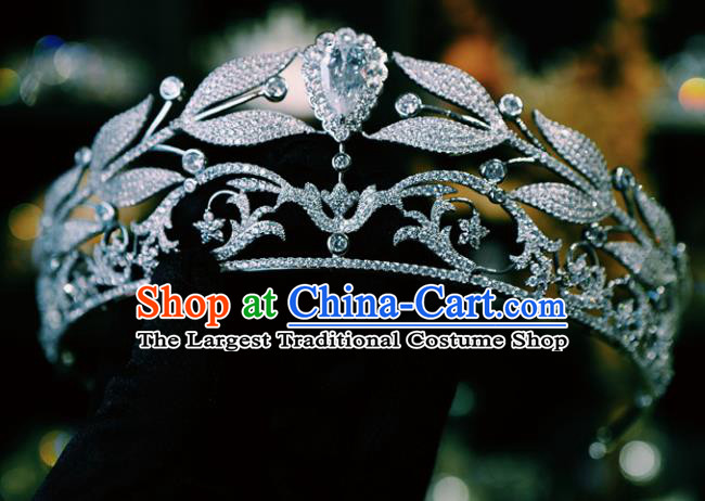 Handmade Wedding Luxury Royal Crown Baroque Zircon Hair Clasp Women Jewelry Accessories European Princess Headwear