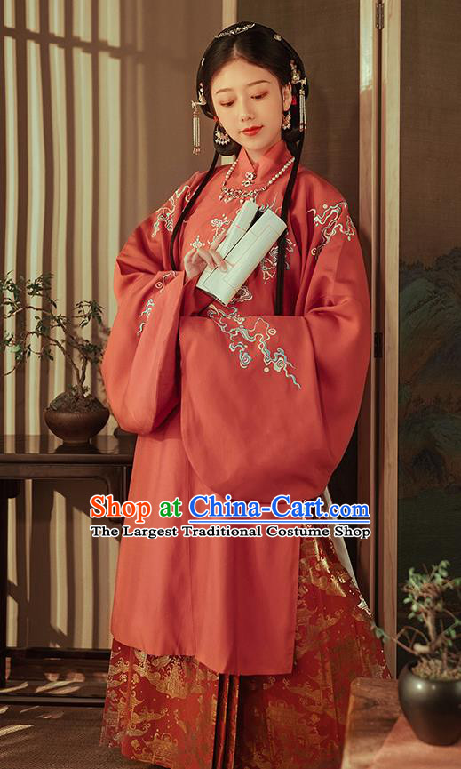 Chinese Ancient Nobility Lady Red Hanfu Dress Traditional Ming Dynasty Royal Princess Costumes for Women