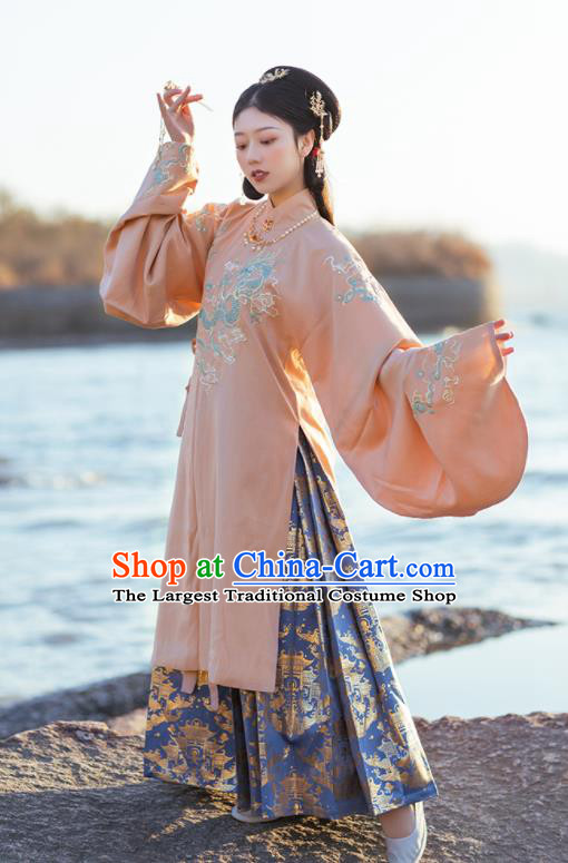 Chinese Ancient Royal Princess Pink Hanfu Dress Traditional Ming Dynasty Imperial Concubine Costumes for Women