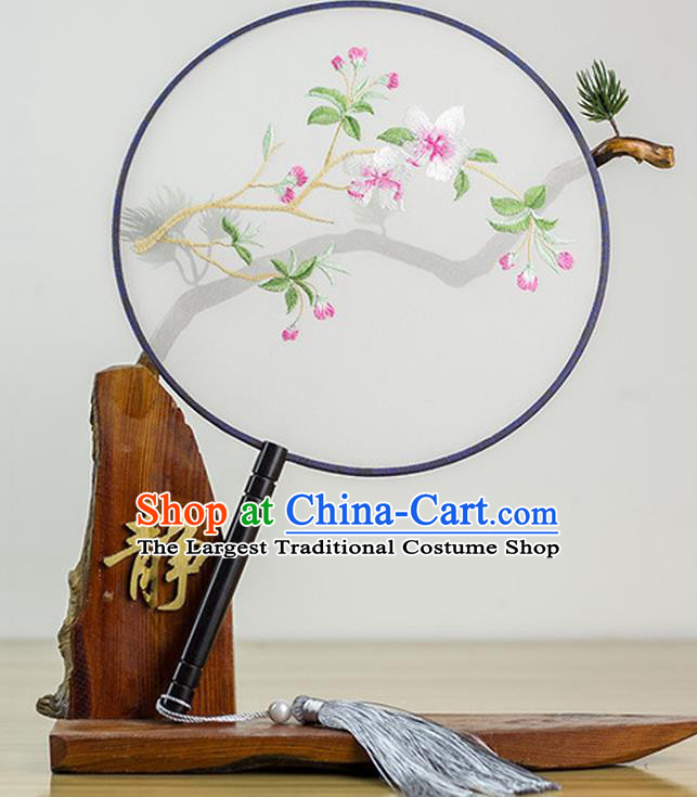 Chinese Traditional Embroidered Peach Blossom Round Fan Classical Palace Fans for Women