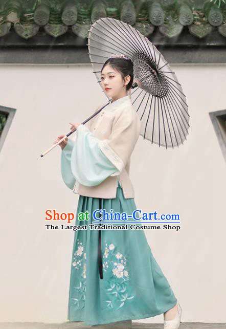 Chinese Ancient Young Lady Vest Blouse and Skirt Traditional Ming Dynasty Palace Princess Costumes for Women