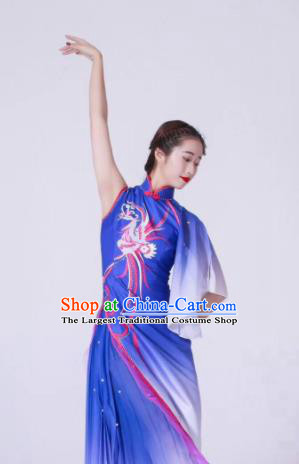 Chinese Classical Dance Blue Dress Traditional Fan Dance Stage Show Costume for Women