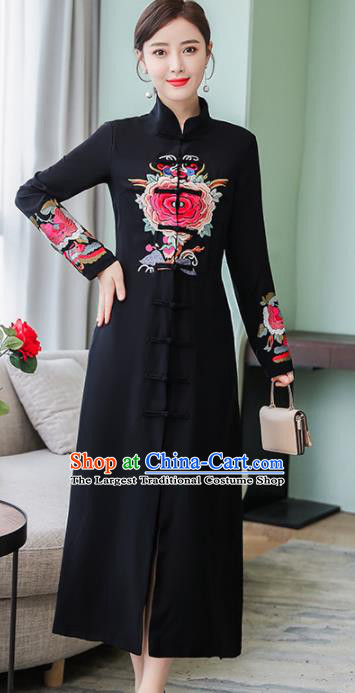 Chinese Traditional Embroidered Peony Black Front Opening Cheongsam Costume China National Qipao Dress for Women