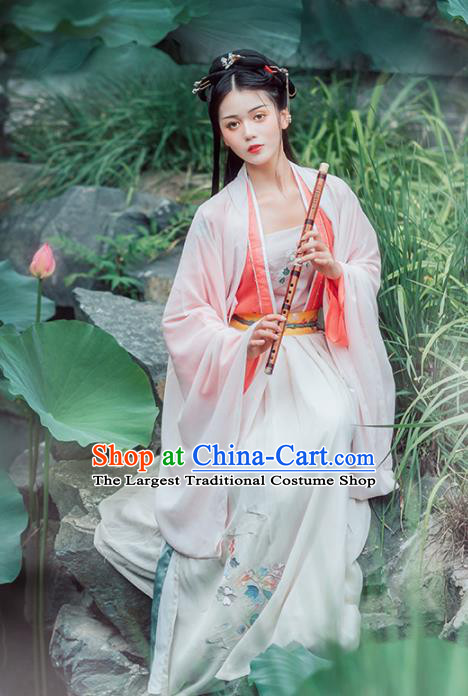 Chinese Ancient Female Civilian Embroidered Hanfu Dress Traditional Song Dynasty Nobility Lady Costumes for Women