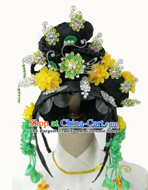 Chinese Traditional Peking Opera Princess Wigs and Hairpins Handmade Beijing Opera Diva Hair Accessories for Women