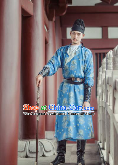 Chinese Ancient Chivalry Swordsman Blue Robe Traditional Tang Dynasty Imperial Bodyguard Costumes for Men