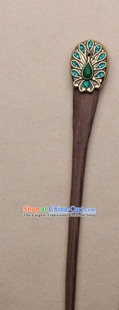 Chinese Traditional Sandalwood Hairpins Ancient Swordsman Hair Accessories for Women