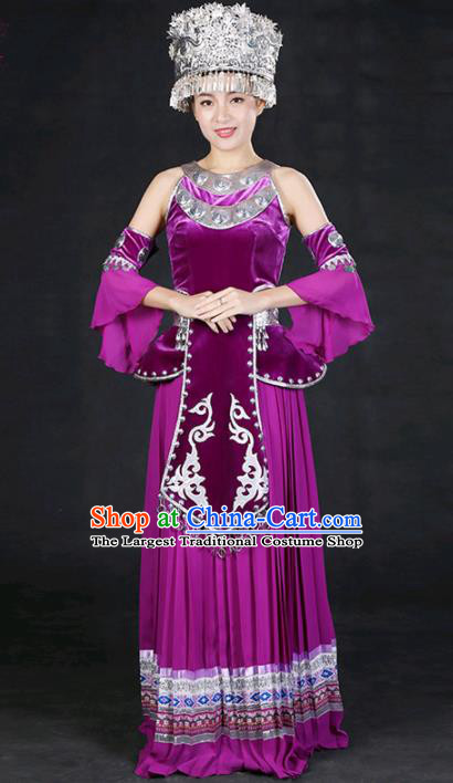Chinese Traditional Miao Nationality Stage Show Purple Long Dress Ethnic Minority Folk Dance Costume for Women