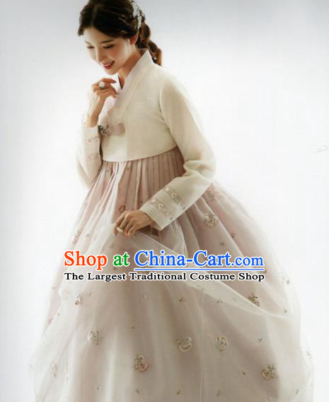 Korean Traditional Hanbok Bride White Blouse and Light Brown Dress Outfits Asian Korea Fashion Costume for Women