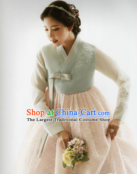 Korean Traditional Hanbok Bride Light Green Blouse and Pink Dress Outfits Asian Korea Wedding Fashion Costume for Women
