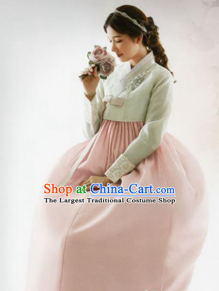 Korean Traditional Hanbok Bride Green Blouse and Pink Dress Outfits Asian Korea Wedding Fashion Costume for Women