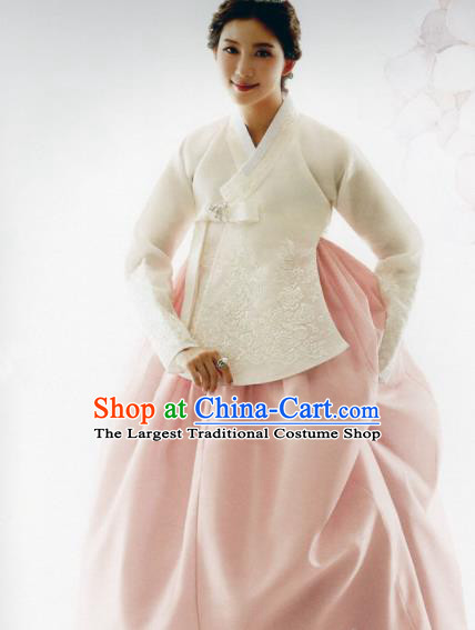 Korean Traditional Hanbok Bride White Blouse and Pink Dress Outfits Asian Korea Wedding Fashion Costume for Women