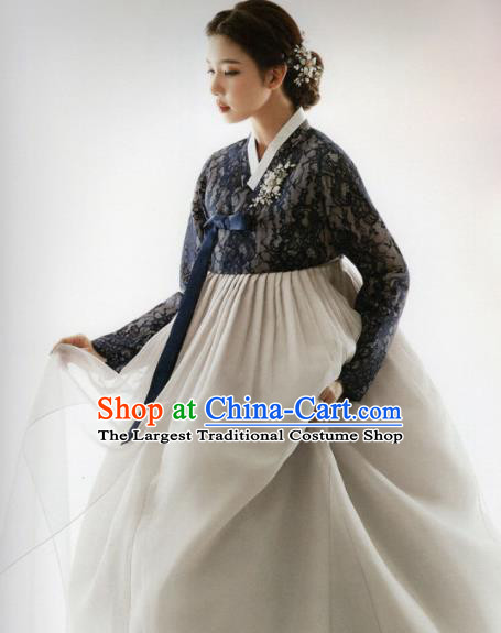 Korean Traditional Hanbok Princess Navy Lace Blouse and Grey Dress Outfits Asian Korea Fashion Costume for Women