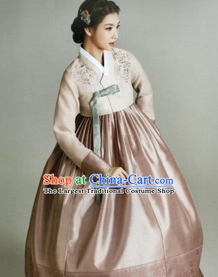 Korean Traditional Hanbok Princess Beige Blouse and Pink Satin Dress Outfits Asian Korea Fashion Costume for Women