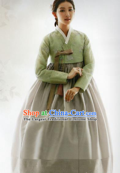 Korean Traditional Hanbok Princess Green Blouse and Grey Satin Dress Outfits Asian Korea Fashion Costume for Women