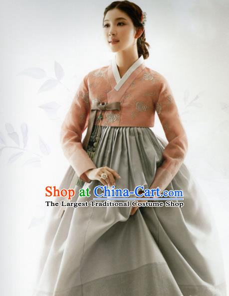 Korean Traditional Hanbok Princess Orange Blouse and Grey Satin Dress Outfits Asian Korea Fashion Costume for Women