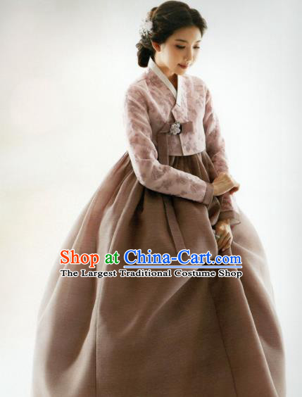 Korean Traditional Hanbok Mother Pink Blouse and Brown Satin Dress Outfits Asian Korea Fashion Costume for Women