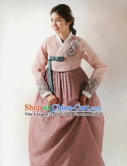 Korean Traditional Hanbok Wedding Mother Printing Peony Pink Blouse and Dress Outfits Asian Korea Fashion Costume for Women