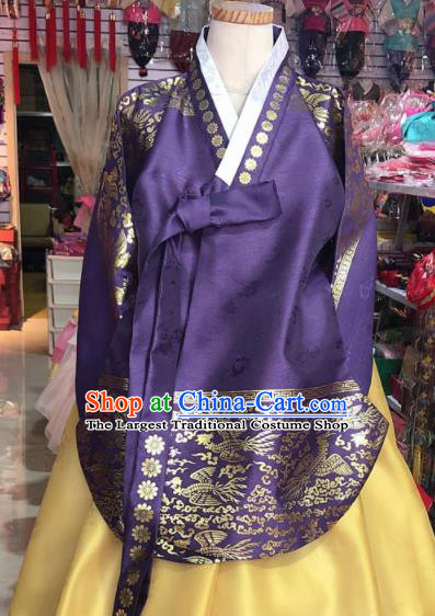 Korean Traditional Hanbok Court Mother Purple Tang Blouse and Yellow Satin Dress Outfits Asian Korea Fashion Costume for Women
