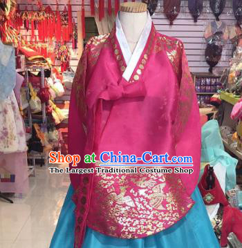 Korean Traditional Hanbok Court Mother Rosy Tang Blouse and Blue Satin Dress Outfits Asian Korea Fashion Costume for Women