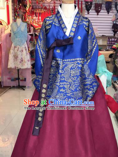 Korean Traditional Hanbok Court Mother Royalblue Tang Blouse and Wine Red Satin Dress Outfits Asian Korea Fashion Costume for Women