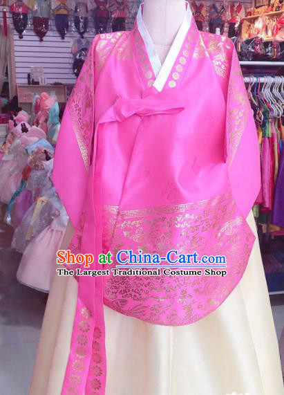 Korean Traditional Hanbok Court Mother Rosy Tang Blouse and Beige Satin Dress Outfits Asian Korea Fashion Costume for Women