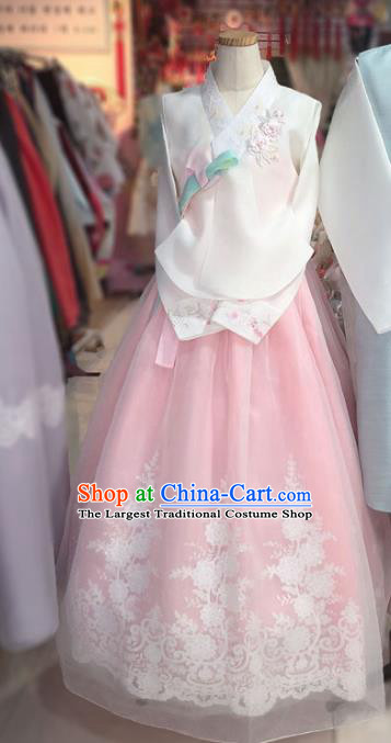 Korean Traditional Hanbok Court White Blouse and Pink Dress Outfits Asian Korea Fashion Costume for Women