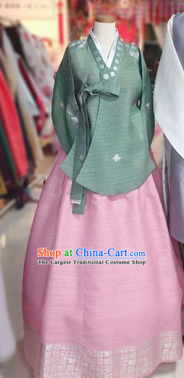 Korean Traditional Hanbok Court Green Blouse and Pink Dress Outfits Asian Korea Fashion Costume for Women