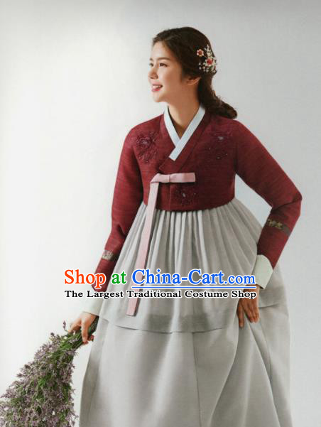 Korean Traditional Hanbok Wedding Mother Dark Red Blouse and Grey Dress Outfits Asian Korea Fashion Costume for Women