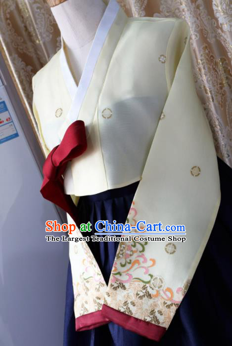 Korean Traditional Garment Hanbok Yellow Blouse and Navy Dress Outfits Asian Korea Fashion Costume for Women