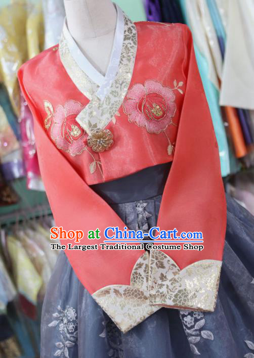 Korean Traditional Garment Bride Hanbok Red Blouse and Navy Dress Outfits Asian Korea Fashion Costume for Women
