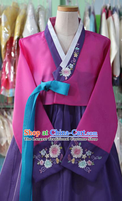 Korean Traditional Garment Bride Mother Hanbok Embroidered Rosy Blouse and Purple Dress Outfits Asian Korea Fashion Costume for Women