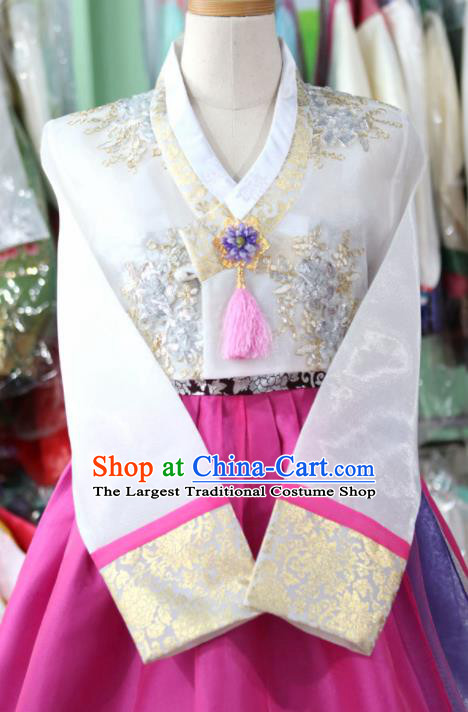 Korean Traditional Garment Bride Mother Hanbok Embroidered White Blouse and Rosy Dress Outfits Asian Korea Fashion Costume for Women