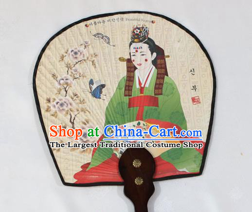 Korean Traditional Wedding Printing Bride Palace Fan Asian Korea Paper Fans for Women