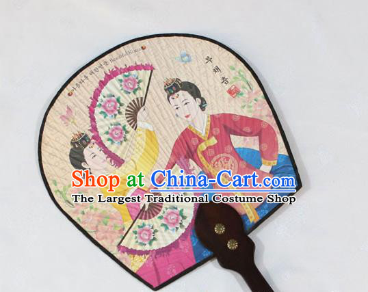 Korean Traditional Wedding Printing Court Bride Palace Fan Asian Korea Paper Fans for Women