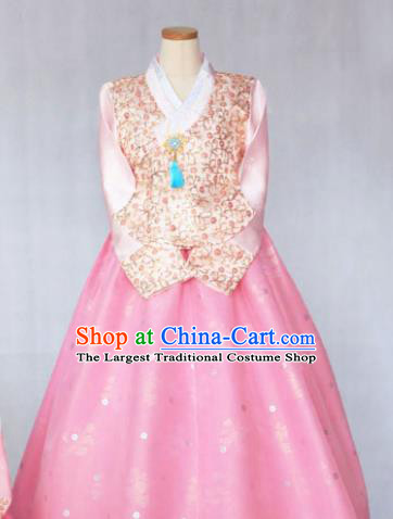 Korean Traditional Garment Pink Blouse and Dress Bride Hanbok Asian Korea Fashion Costume for Women