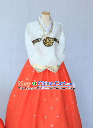 Korean Traditional Garment White Blouse and Orange Dress Bride Hanbok Asian Korea Fashion Costume for Women
