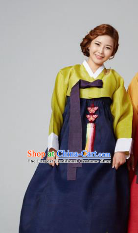 Korean Traditional Garment Green Blouse and Navy Dress Mother Hanbok Asian Korea Fashion Costume for Women