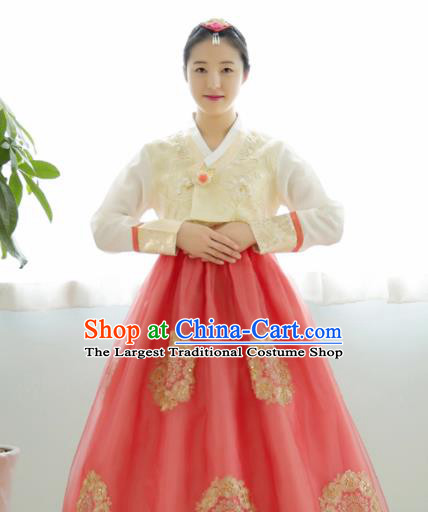 Korean Traditional Hanbok Garment Beige Blouse and Red Dress Asian Korea Fashion Costume for Women