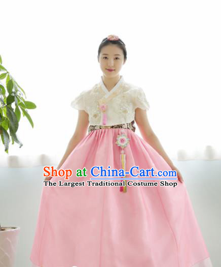 Korean Traditional Hanbok Garment White Blouse and Pink Dress Asian Korea Fashion Costume for Women