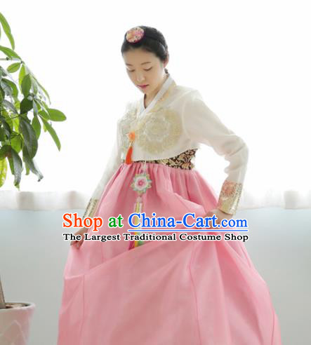 Korean Traditional Hanbok Garment Embroidered White Blouse and Pink Dress Asian Korea Fashion Costume for Women