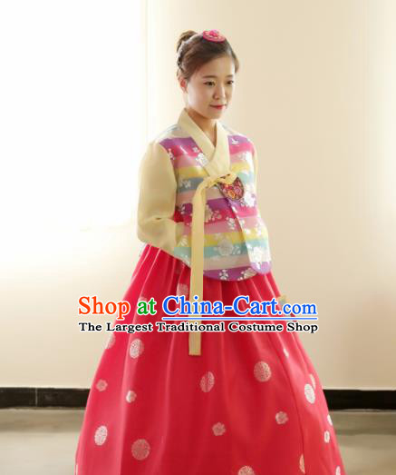 Korean Traditional Hanbok Garment Striped Blouse and Red Dress Asian Korea Fashion Costume for Women