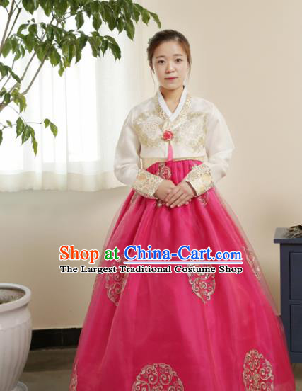 Korean Traditional Hanbok Garment White Blouse and Rosy Dress Asian Korea Fashion Costume for Women