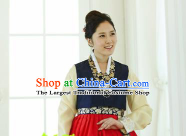 Korean Traditional Hanbok Garment Navy Blouse and Red Dress Asian Korea Fashion Costume for Women