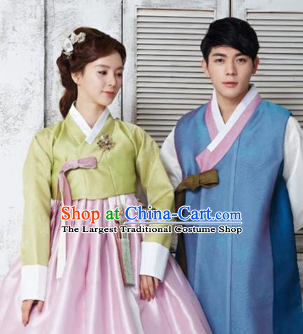 Korean Traditional Hanbok Garment Green Blouse and Pink Dress Asian Korea Fashion Costume for Women