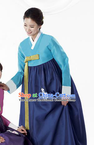 Korean Traditional Bride Mother Hanbok Blue Blouse and Navy Dress Garment Asian Korea Fashion Costume for Women