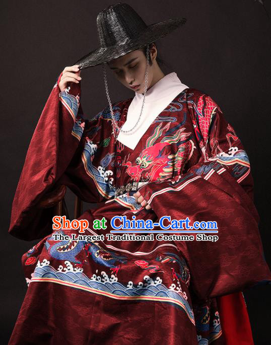 Chinese Traditional Ming Dynasty Blades Red Robe Ancient Imperial Guards Swordsman Costumes for Men