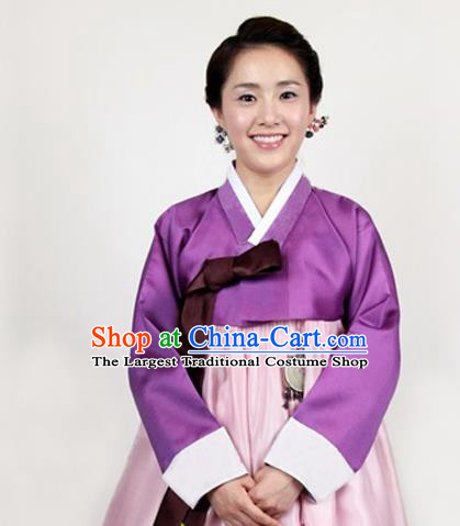 Korean Traditional Bride Mother Hanbok Purple Satin Blouse and Pink Dress Garment Asian Korea Fashion Costume for Women